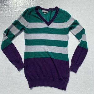 T.O. Sweater long sleeve smocked stripes small